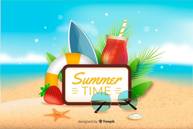 Realistic summer background with summer objects Free Vector