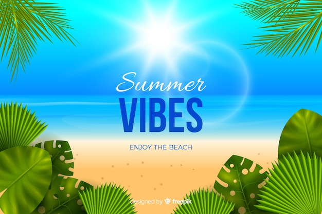 Realistic summer background Free Vector