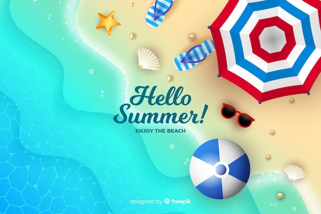 Realistic summer elements on a beach background Free Vector