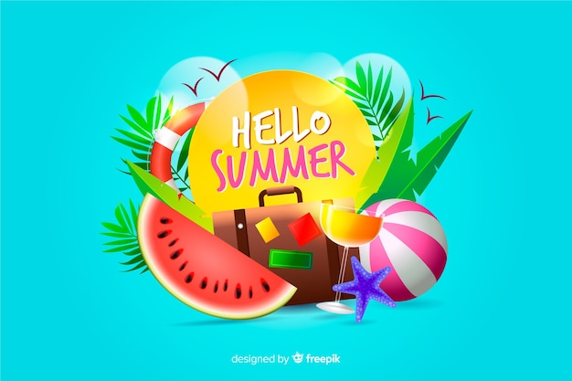 Realistic summer elements surrounding sign background Free Vector