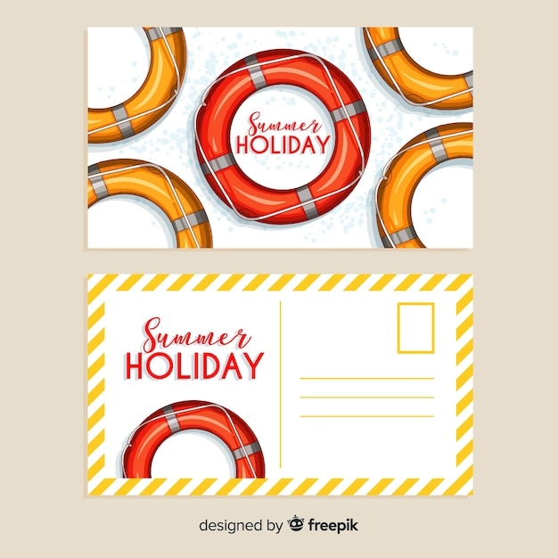 Realistic summer holiday postcard collection Free Vector