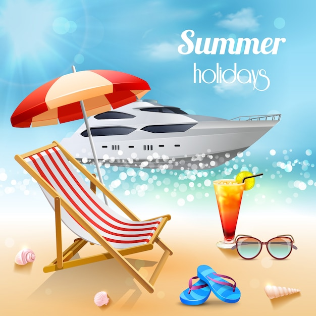 Realistic summer holidays composition Free Vector