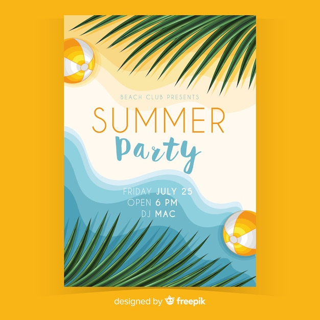 Realistic summer party flyer template Free Vector