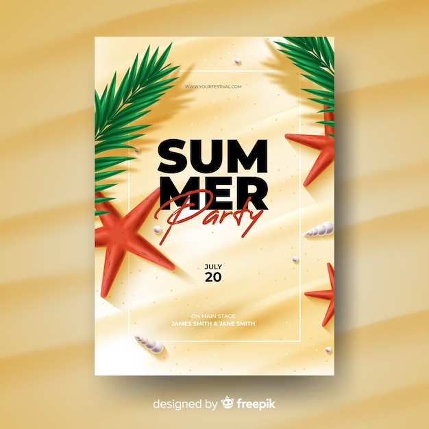 Realistic summer party poster template Free Vector