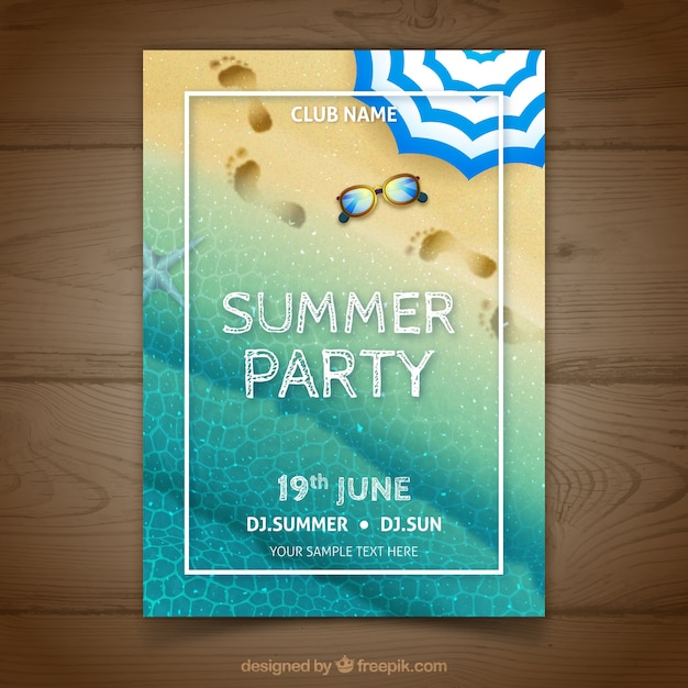 Realistic summer party poster with footprints Free Vector
