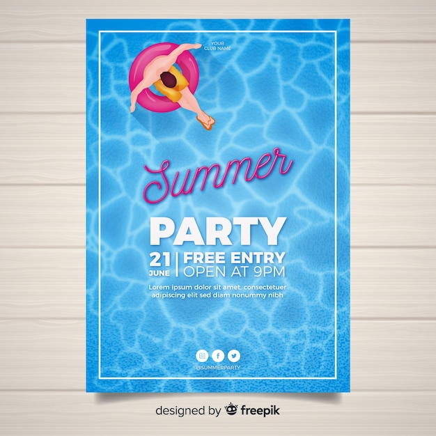 Realistic summer party poster Free Vector