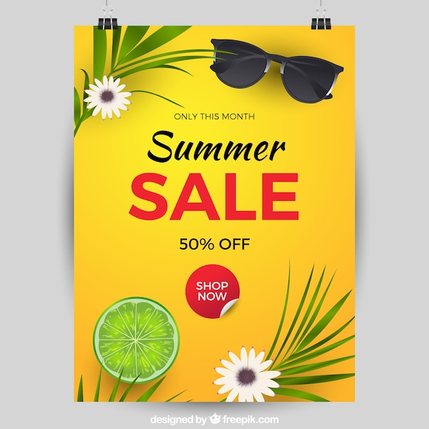 Realistic Summer Sale Cover Template Free Vector