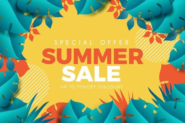 Реалистичная летняя распродажа с листвой Бесплатные векторы