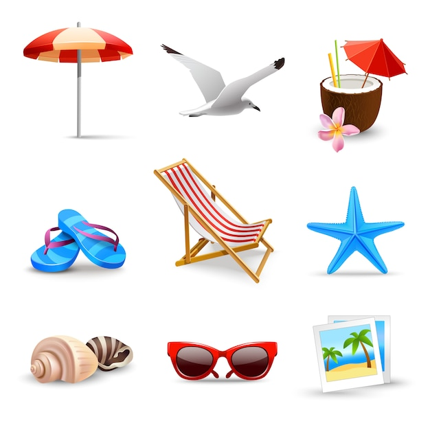 Realistic summer vacation elements Free Vector