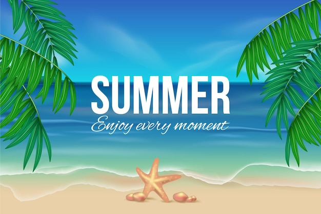 Реалистичные летние обои с пляжем Бесплатные векторы