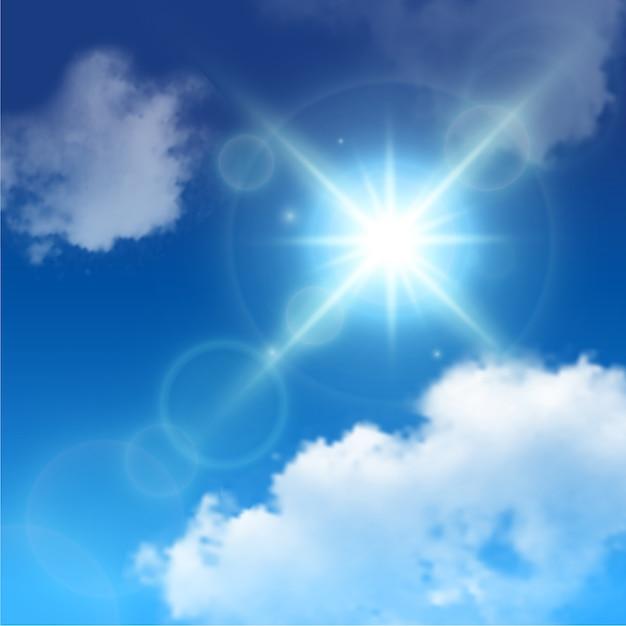 Реалистичные блики от солнечных лучей среди белых облаков на голубом небе Бесплатные векторы