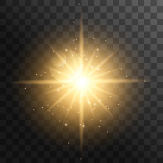 Реалистичные солнечные лучи. желтый луч солнца свечение абстрактный блеск световой эффект звездообразования луч солнца солнечного света, изолированные. Premium векторы