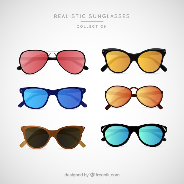 Realistic sunglasses collection Free Vector