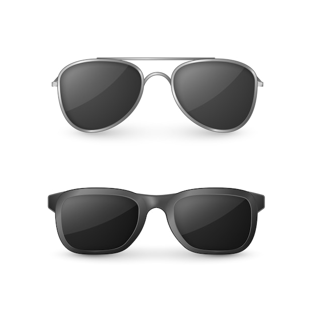 Realistic sunglasses front view illustration Premium Vector
