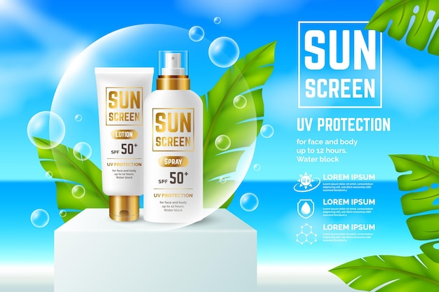 Realistic sunscreen ad concept Free Vector