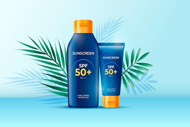 Реалистичная солнцезащитная реклама Бесплатные векторы
