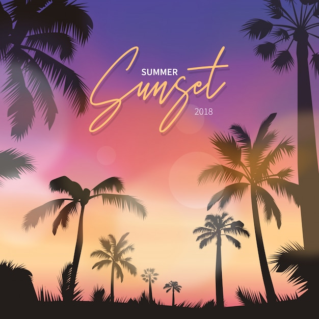 Scena realistica del tramonto Vettore gratuito