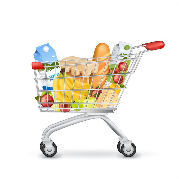 Realistic supermarket trolley full of items Free Vector