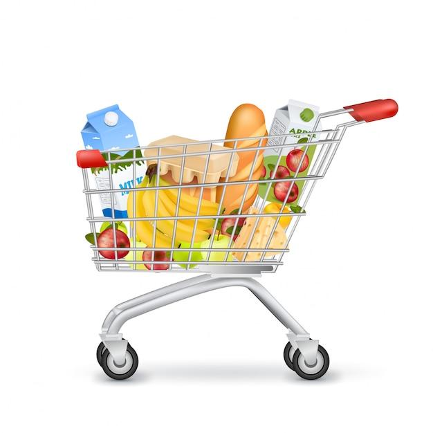 Реалистичная тележка для супермаркетов, полная предметов Бесплатные векторы