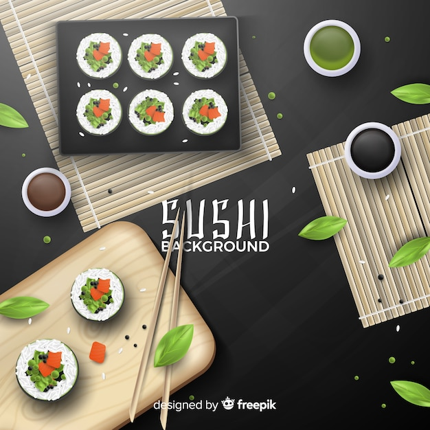 Realistic sushi background Free Vector