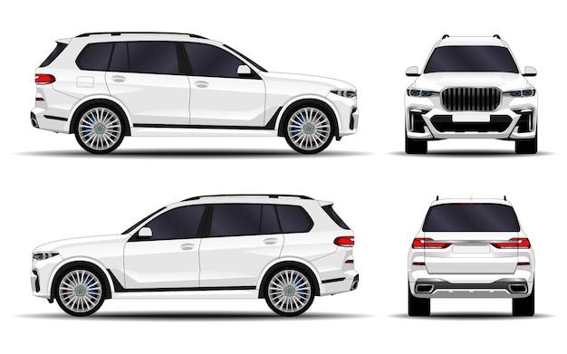リアルなsuv車。正面図;側面図;背面図。 Premiumベクター
