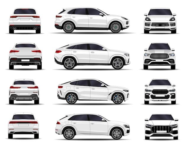 現実的なsuv車セット。正面図;側面図;背面図。 Premiumベクター