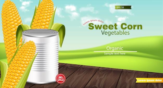 Realistic sweet corn metal tin mockup Premium Vector