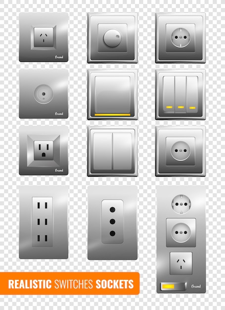 Realistic switches and sockets Free Vector