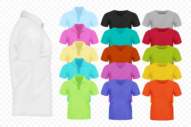 Realistic t-shirt collection Premium Vector