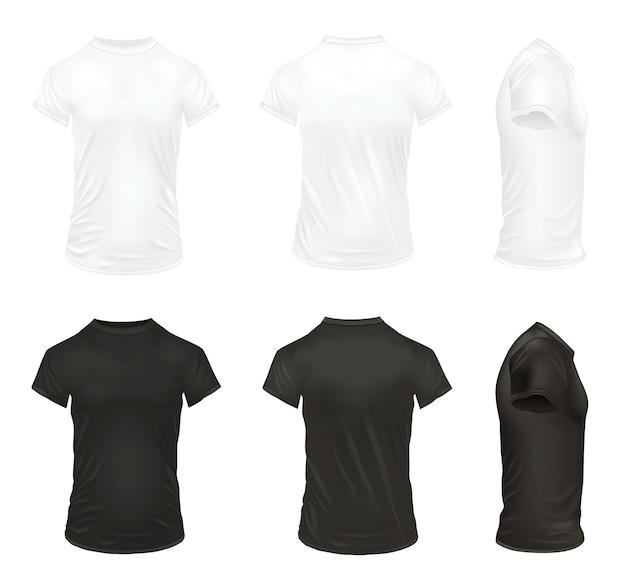 Реалистичная футболка изолированных иллюстрация набор Бесплатные векторы