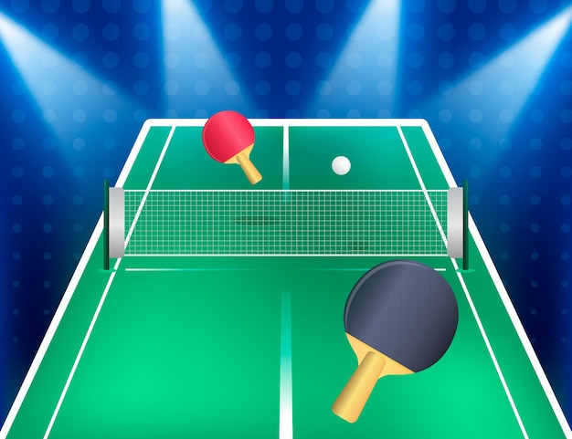 Realistic table tennis background with paddles and net Free Vector