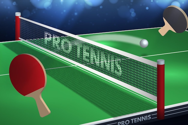 Realistic table tennis background Free Vector