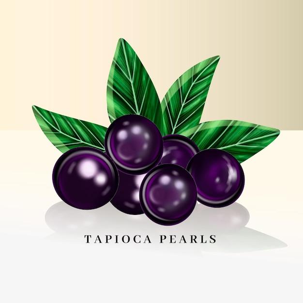Realistic tapioca pearls illustration Free Vector
