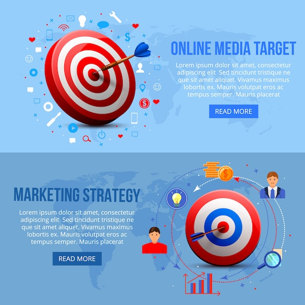 Realistic targeting marketing banners Free Vector