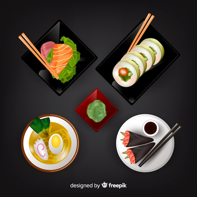 Realistic tasty food dish collection Free Vector