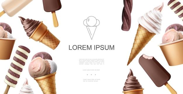 Реалистичный шаблон вкусного мороженого с шариками эскимо, шоколадом, ванилью, сливками и глазурью разных вкусов Бесплатные векторы