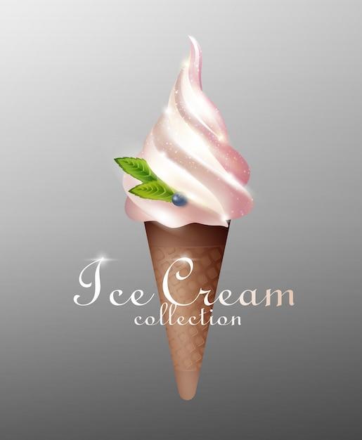 Realistic tasty sundae ice cream template Free Vector