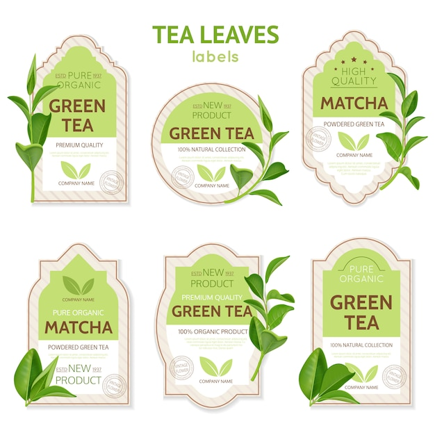 Realistic tea leaves labels Free Vector