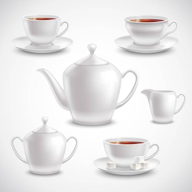 Realistic tea set Free Vector