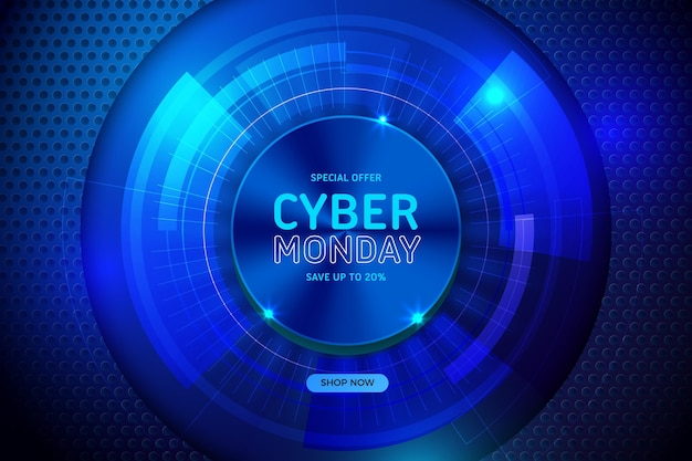 Realistic tech cyber monday in android abstract eye Free Vector