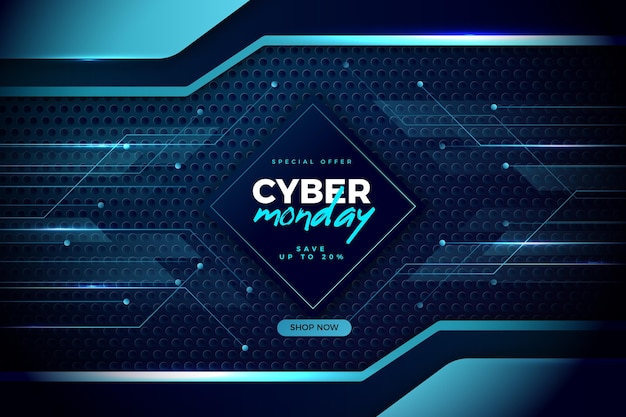 青い色合いの現実的なハイテクサイバーマンデー 無料ベクター