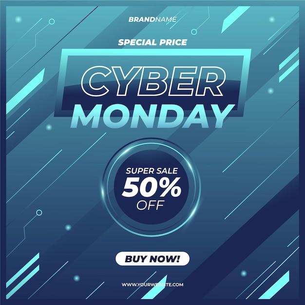 Realistico design tecnologico cyber lunedì vendita Vettore gratuito