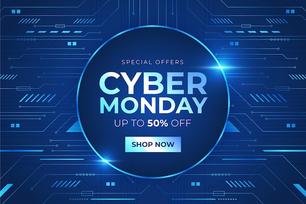 Realistic technology cyber monday concept Free Vector