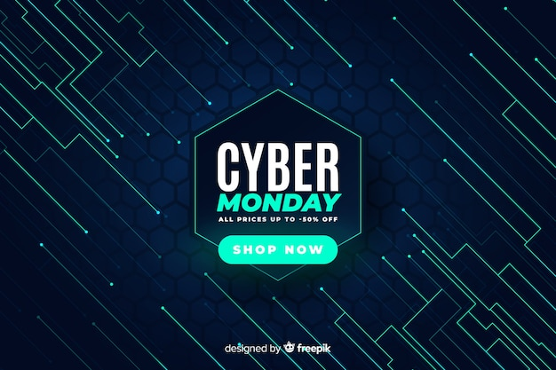 Tecnologia realistica cyber lunedì Vettore gratuito