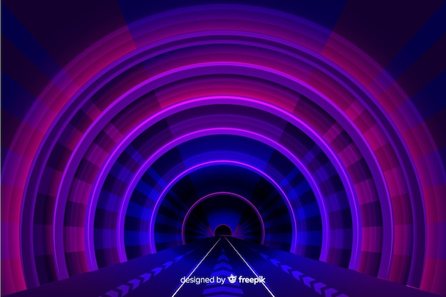 Realistic technology light tunnel background Free Vector