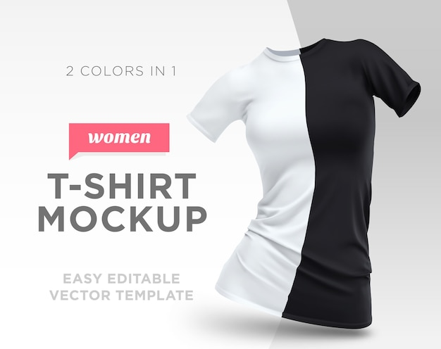 Realistic template blank white and black woman t-shirt cotton clothing. empty mock up Premium Vector
