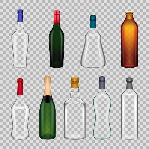Реалистичные шаблоны бокалов бутылки на прозрачном фоне Premium векторы