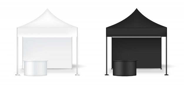 Realistic tent display wall pop booth with table Premium Vector