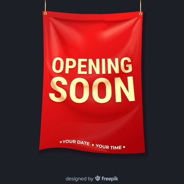 Realistic textile sign opening soon Free Vector