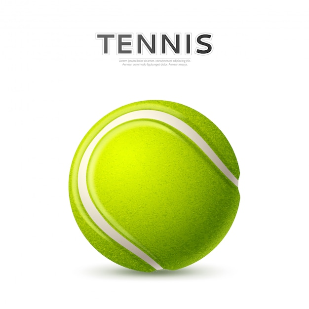 Realistic textured green tennis ball with curved line Premium Vector